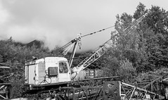 Threlkeld Quarry . (wayman2011) Tags: canon50dlightroom5 colinhart wayman2011 bwlandscapes mono rural quarrys machinery diggers clouds cumbria lakedistrict threlkeld uk