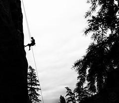Rock Climbing (ShawnGrenningerPhoto) Tags: rockclimbing climbing climb skahabluffs bluffs skaha penticton britishcolumbia canada bc sports extremesports climber blackandwhite monochrome outdoors adventure outside adventurer person nature 2018