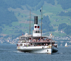 Lake Lucerne Navigation Company (SGV), Switzerland - PS Uri built in 1901 approaches Weggis with the 9.12 from Lucerne to Flüelen on the 10th July 2018 (trained_4_life) Tags: switzerland lucerne luzern paddlesteamers sgv uri