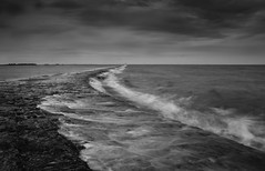 Breakwater (selvagedavid38) Tags: harwich harbour essex stone black white cloud water coast tide surge storm long exposure neutral density filter jetty pier grey east north nordsee breakers mono stormy