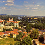 Wide panorama of Litomerice, historic city north of Prague, Check Republic, with Elbe (Labe) river, aerial view. thumbnail