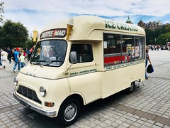 1970 BMC Icecream van. (Bennydorm) Tags: urban city pavement iphone6s luglio julio juillet july lascozia escocia ecosse schottland scotland edinburgh street 1970's 1970 bmc icecream vehicle motor van