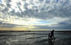 Sunset beach (Wilamoyo) Tags: northwales barmouth wales welsh coast sand beach sky sunset sundown walking family mother child sihouette sun