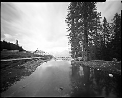 pinhole 4x5 ;/) (schyter) Tags: stenopeica pinhole 4x5 sheet foma fomapan100 lf long exposure homemade camera development homemadescanned developer tank taco metod elastic hair epson v600 kodak rapid fixer photoflo stopbath dolomiti dolomites 100iso 1200dpi alternative ampezzo analogic analogica belluno bw cirmolo cortina cortinadampezzo adox adonal 150 estate f182 film orientali photoflo200 photography pinocembro prewash2min scozia stenopeico twoscanned unesco veneto wood allaperto bianco e nero albero pianta montagna paesaggio monocromo cielo strada edificio casetta legno