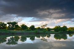 Gray and Green (NaturalLight) Tags: prairie storm gray green water reflections chisholmcreekpark wichita kansas