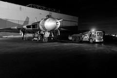Sthnd 80269bw (kgvuk) Tags: xl426 vulcan bomber avro southend southendairport vulcanrestorationtrust aircraft aeroplane raf nightphotography reenactors