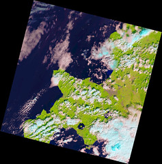 Hokkaido on 6 September 2018, variant (sjrankin) Tags: 8september2018 6september2018 edited nasa usgs landsat8 lc08l1tp108030201809062018090601rt seaofjapan pacificocean hokkaido japan sapporo ebetsu kitahiroshima laketoya muroran otaru clouds yuni kuriyama iwamizawa