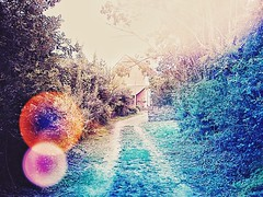 On my way (LUMEN SCRIPT) Tags: light flare france countryside country colours guidinglines path trail
