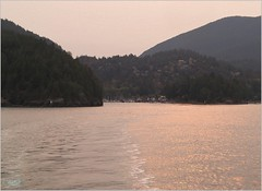 Bowen Island Smoke Sunset BC18h40 LG (CanadaGood) Tags: canada bc britishcolumbia bowenisland bcferries ferry sea howesound smoke afternoon shore canadagood 2018 thisdecade color colour cameraphone island