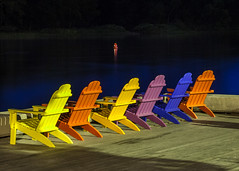 River View (Me in ME) Tags: maine hallowell river kennebec chairs adirondack night