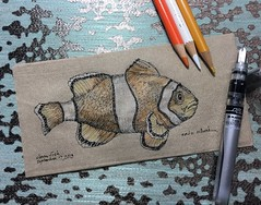 Modern day icon (schunky_monkey) Tags: illustration art penandink ink pen fountainpen drawing draw sketching sketch napkin nemo clownfish fish