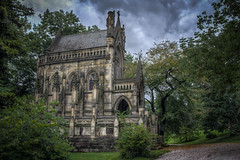 The Dexter Mausoleum at the Spring Grove Cemetery and Arboretum (donnieking1811) Tags: ohio cincinnati springgrovecemeteryandarboretum thedextermausoleum architecture stone building gothicrevival mausoleum dexter exterior outdoors trees sky clouds cross hdr canon 60d lightroom photomatixpro