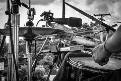 Percussion Perspective (tim.perdue) Tags: percussion perspective drummer drums music comfest 2018 jazz stage goodale park columbus ohio short north black white bw monochrome nikon d7200 nikkor 18140mm microphone mic tamborim canta brasil band hihat cymbals victorian village snare drum rack tom hardware stand hand arm sticks drumsticks latin