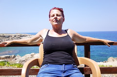 North Cyprus Chilling (thestourman) Tags: sea sky blue woman photography ricoh pentax colour north cyprus
