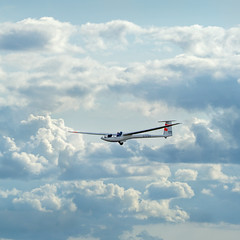 landing back home (jane not janet) Tags: rudder ailerons fin tailplane tail wheel undercarriage wing clouds sky cumulus thermal aeroplane aircraft glider flight dg101 sailplane planeur competition juniornationals2018