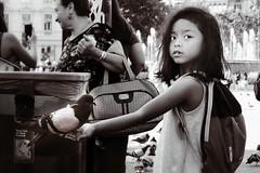 Girl's got a bird (Alizarin Krimson) Tags: blackandwhite bnw eyes face portrait dove bird girl child people