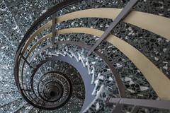 Terrazzo Blues (Elbmaedchen) Tags: stairs staircase stairwell stufen steps escaliers escaleras treppenhaus treppenauge treppe treppen interior terrazzo spirale spiral roundandround helix upanddownstairs