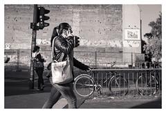 walking woman (glasseyes view...up&away) Tags: glasseyesview blackandwhite streetphotography streetlife berlin summerinthecity summer2018 people