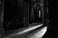 Between lights and shadows (muntsa-joan-BW) Tags: blackandwhite bw bnw shadows light solitude sombras solitud architecture arquitectura church iglesia monocromo monochrome gothic art culture religion dark column canon heritage