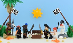 🌴Talk Like A Pirate Day💀 (Alex THELEGOFAN) Tags: lego legography minifigure minifigures minifig minifigurine minifigs minifigurines pirate pirates beach talk like a day international flag island sand tan captain crew kill sun blue treasure gold