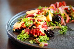 Grilled squid salad with herbs and blackberries. (corineouellet) Tags: live yumyum canoncanada canonphoto canon foodphoto salade salad herbs blackberries squid tasty yummy artofplating plating cooking cook foodies foodie food