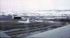 Frobisher Bay Airport, June 1970 (nielsamd) Tags: frobisherbay iqualuit airport argus canadair kenting c54 nordair c47 cl28