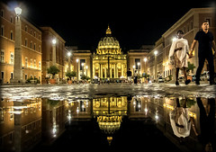 Saint Peter's Basilica by night - Vatican (Cloudwhisperer67) Tags: italy italia saint peters basilica peter baslica basilique by night vatican rome roma 2018 cloudwhisperer67 street amazing cityscape romantic europe canon 760d pope black golden light water puddle amateur photograph great wonderful reflection summer church splendid august beautiful architecture urban city monument town papal sacred holy place trip travel artistic art