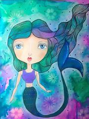 IMG_2629-Rainbow Zen Mermaid Main (Just4Crafters) Tags: mermaid mixed girl media blue pink green underwater painting original zen zentangle whimsical whimsy
