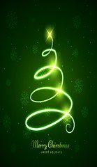 glowing christmas tree in green background (inola1405) Tags: snow flakes snowflakes ice snowy icy geometric cold cool winter wintersnow background xmas christmas merry festive festival holiday snowfall december year new happy celebration greeting card template season seasonal tree christmastree neon