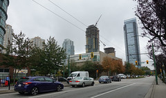 Burnaby Public Library nestled amongst towers. (D70) Tags: surrounded by high rises subaru impreza willingdonave kingsborough burnaby britishcolumbia crane construction buildings vans toyota camry ford transit