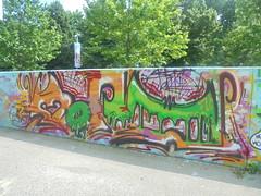 431 (en-ri) Tags: moans alim dlm nero verde marrone arrow rosso giallo rosa torino wall muro graffiti writing parco dora