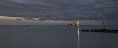 Busy on the horizon (Through Bri`s Lens) Tags: sussex sunrise rampionwindfarm digger horizon clouds brianspicer canon5dmk3 canon24105f4l leefilters