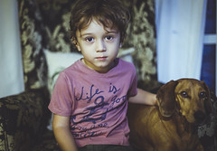 The dynamite duo. (Pablin79) Tags: dog pet animal colors portrait indoors posadas misiones argentina couch vini kid child childhood shadows dof django dackel dachshund friends friendship