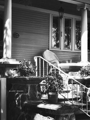 Sit in the Sun (Ellery Images) Tags: elleryimages monochrome blackandwhite house stone chair summer sun sit porch saturday stair hss