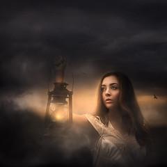 Guiding Light ({jessica drossin}) Tags: woman portrait lantern light face clouds search wwwjessicadrossincom brunette looking beautiful artistic fine art photography