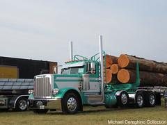 Chuck Bracelin Trucking's Peterbilt 389 log truck. Truck# 100 (Michael Cereghino (Avsfan118)) Tags: 2018 brooks truck show chuck bracelin trucking log hauler logger 2019 peterbilt 389 daycab model pete