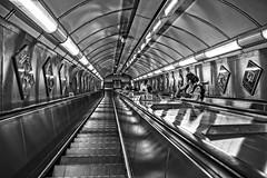 Down to the tube (IHD Photography) Tags: tube london underground tfl monochrome transport vanishingpoint