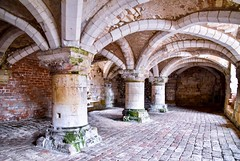 The Undercroft (rustyruth1959) Tags: sets moss ancient redbrick brick stone indoor building window old architecture floor vaults vaultedceiling pillars norman undercroft normanmanorhouse burtonagnes yorkshire england uk tamron16300mm nikond5600 nikon arch walls stonework room