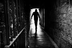 the hooded man (Daz Smith) Tags: dazsmith fujixt20 fuji xt20 andwhite bath city streetphotography people candid portrait citylife thecity urban streets uk monochrome blancoynegro blackandwhite mono hooded hood man silhouette dark alley