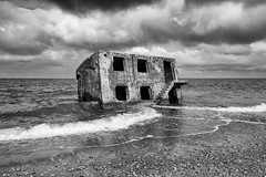 Fallen stronghold: Drowning ghost house (Mikhail Korolkov (OFF)) Tags: landscape architecture beach balticsea northernforts liepāja latvia blackandwhite monochrome