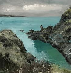 After The Rain - Pwllgwaelod - oil on board 40 x 40 cm - available (www.sandragraham.co.uk) Tags: art artwork artartworkartistartistscontemporaryartcollectorstreambrookburnwaterflowingnaturepaintingartistsimpastopainting seascape sea seas waleritish workshopwalesgallery pembrokeshire welshart b
