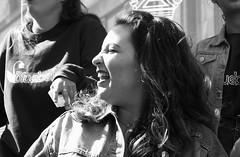 Fringe on the Mile 2018 0184 (byronv2) Tags: edinburgh edinburghfestival edimbourg edinburghfestivalfringe edinburghfringe edinburghfringe2018 fringe2018 edinburghfestivalfringe2018 blackandwhite blackwhite bw monochrome peoplewatching candid street performer royalmile oldtown woman girl singing singer music stage bluebells por mouth teeth dents pretty