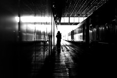 In the dark station (pascalcolin1) Tags: paris13 austerlitz homme man gare station dark sombre train reflets reflection photoderue streetview urbanarte noiretblanc blackandwhite photopascalcolin canon canon50mm 50mm