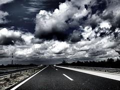 The road to Croatia #I (maryduniants) Tags: blackandwhite highway blue croatia darkness clouds way road