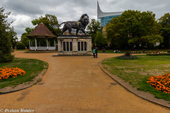 The Maiwand Lion and bandstand, Forbury Gardens (Graham Bowley) Tags: garden autumn berkshire morning forbury reading