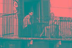 verona - piazza erbe (paolopalmaflick) Tags: verona italy balcony people square blackandwhite street city town person