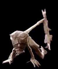 ORIGAMI - PET (Neelesh K) Tags: origami pet human dog owner leash boxpleating 48 grids paper folding satire neelesh k