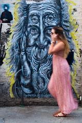 Pretty.Clever. (Tom A Barker) Tags: london bricklane streetart graffiti sony rx100iv sonyrx100iv streetphotography female dress pink einstein