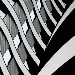 Simple Abstract 25 (No Great Hurry) Tags: factualenigma explore blackwhitesquare nakedabstract inexplore explored architectureontheslant constructuralart abstract geometric lines nogreathurry robinmauricebarr structure stantonwilliams architecture rw riverwalk architecturalabstract urbanabstract linesandcurves bnw blackandwhite noiretblanc 18200 westminster london apartments balconies cmwdblackandwhite perspective building creative
