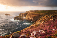 Sunshine and Rain at Land's End (Rich Walker Photography) Tags: landsend landscape landscapes landscapephotography seascape seascapes sea ocean drama rain sunset sun cloud clouds heather colour sky water waves cornwall england canon efs1585mmisusm eos eos80d evening